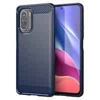 Carbon Case Flexible Cover TPU Case for Xiaomi Poco F3 blue