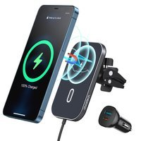 Choetech Car Kit Magnetic Mount Induction Qi Charger 15W (MagSafe Compatible) Black (T200-F) + USB Charger - USB Type C