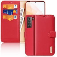 Dux Ducis Hivo Genuine Leather Bookcase type case for Samsung Galaxy S21 5G red