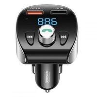 Joyroom FM Transmitter Bluetooth 5.0 car charger MP3 2x USB TF micro SD 18 W 3 A Quick Charge 3.0 black (JR-CL02)
