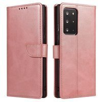 Magnet Case elegant bookcase type case with kickstand for Samsung Galaxy Note 20 Ultra pink