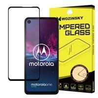 Wozinsky Tempered Glass Full Glue Super Tough Screen Protector Full Coveraged with Frame Case Friendly for Motorola One Action black