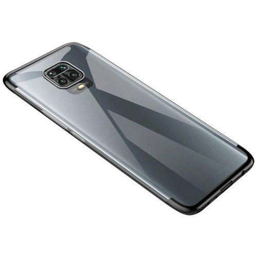 Clear Color Case Gel TPU Electroplating frame Cover for Motorola Moto G9 Play black