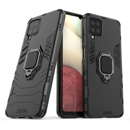 Ring Armor Case Kickstand Tough Rugged Cover for Samsung Galaxy A12 / Galaxy M12 black
