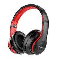 Ausdom bezprzewodowe wokółuszne słuchawki Bluetooth 5.0 ANC (aktywna redukcja szumów) czarno-czerwony (ANC10)