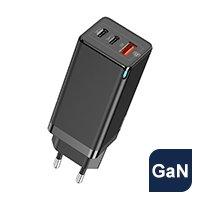 Baseus GaN szybka ładowarka sieciowa PPS 65W USB / 2x USB Typ C Quick Charge 3.0 Power Delivery SCP FCP AFC (azotek galu) czarny (CCGAN-B01)
