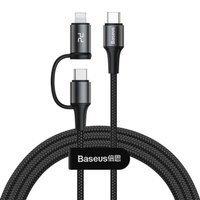 Baseus Twins kabel przewód 2w1 USB Typ C - USB Typ C / Lightning Power Delivery 60W 20V / 3A 1m czarny (CATLYW-H01)