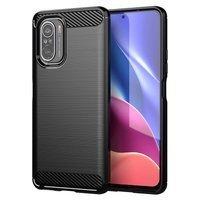 Carbon Case elastyczne etui pokrowiec Xiaomi Poco F3 czarny