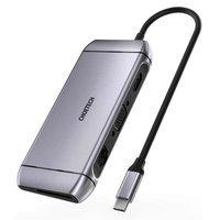 Choetech 9w1 wielofunkcyjny HUB USB Typ C - 3x USB 3.2 Gen 1 / czytnik kart SD i TF / HDMI 4K 30Hz / VGA Full HD 60Hz / USB Typ C / RJ45 szary (HUB-M15 gray)
