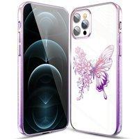 Kingxbar Butterfly Series błyszczące etui ozdobione oryginalnymi Kryształami Swarovskiego motyle iPhone 12 Pro Max różowy