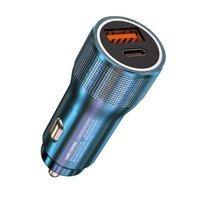 WK Design KuaiShan szybka ładowarka samochodowa USB / USB Typ C 20W niebieski (WP-C30 blue)