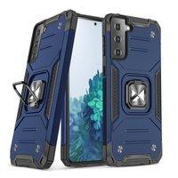 Wozinsky Ring Armor pancerne hybrydowe etui pokrowiec + magnetyczny uchwyt Samsung Galaxy S21 5G niebieski
