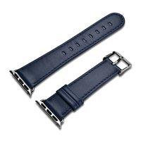 iCarer Leather Vintage opaska pasek z naturalnej skóry do zegarka Watch 3 42mm / Watch 2 42mm / Watch 1 42mm ciemnoniebieski (RIW118-DB)
