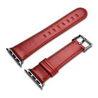 iCarer Leather Vintage opaska pasek z naturalnej skóry do zegarka Watch 3 42mm / Watch 2 42mm / Watch 1 42mm czerwony (RIW118-RD)