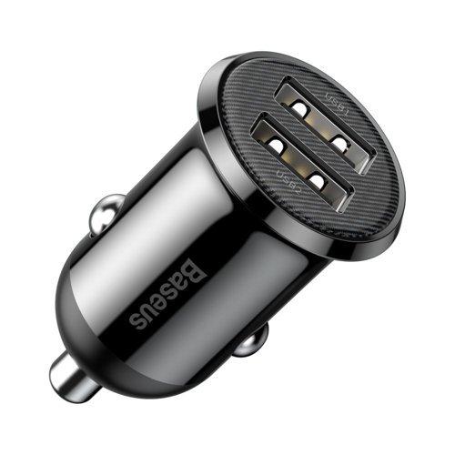 Baseus Grain Pro ładowarka samochodowa 2x USB 4,8 A czarny (CCALLP-01)