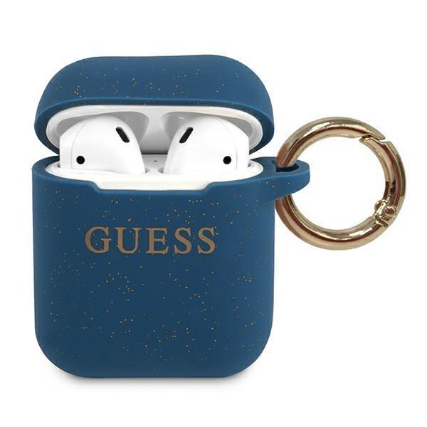 Guess GUACCSILGLBL AirPods cover niebieski/blue Silicone Glitter