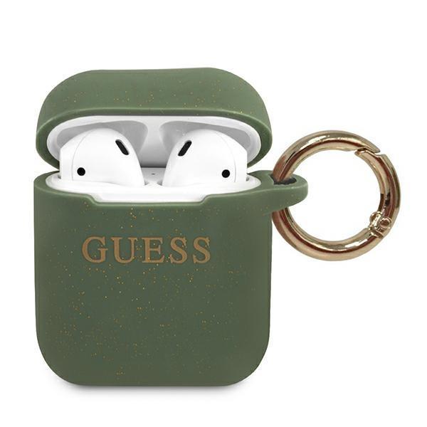 Guess GUACCSILGLKA AirPods cover khaki Silicone Glitter